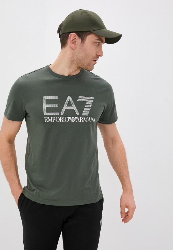 мужская футболка ea7, хаки