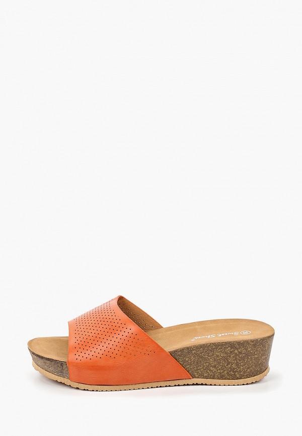 женское сабо sweet shoes, оранжевое
