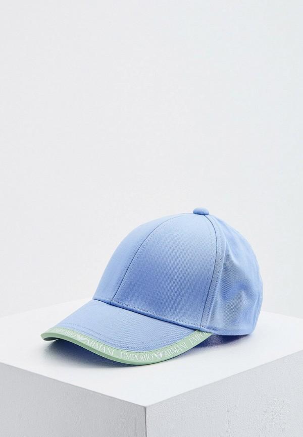 женская бейсболка emporio armani, голубая