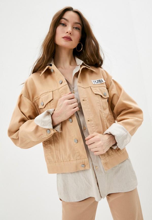 женская куртка mm6 maison margiela, бежевая