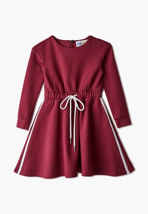 повседневные платье fridaymonday для девочки, бордовое