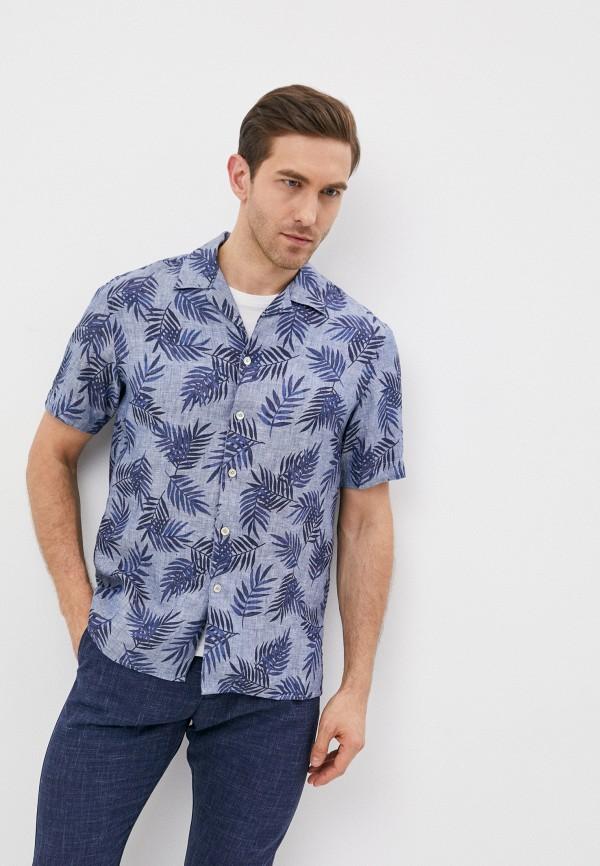 мужская рубашка с коротким рукавом eleventy, синяя