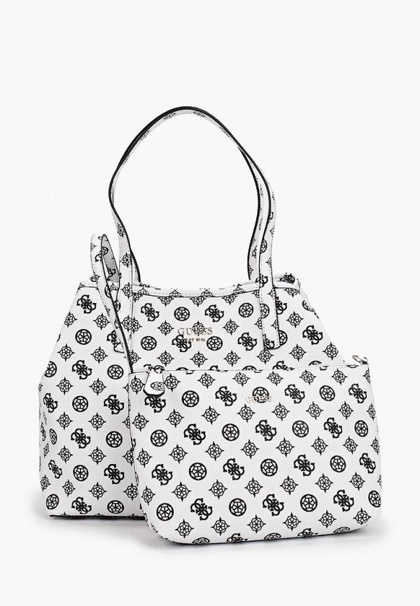 женская сумка-шоперы guess, белая