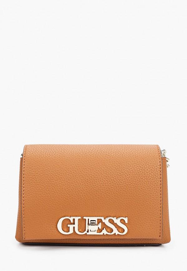женская сумка через плечо guess, коричневая