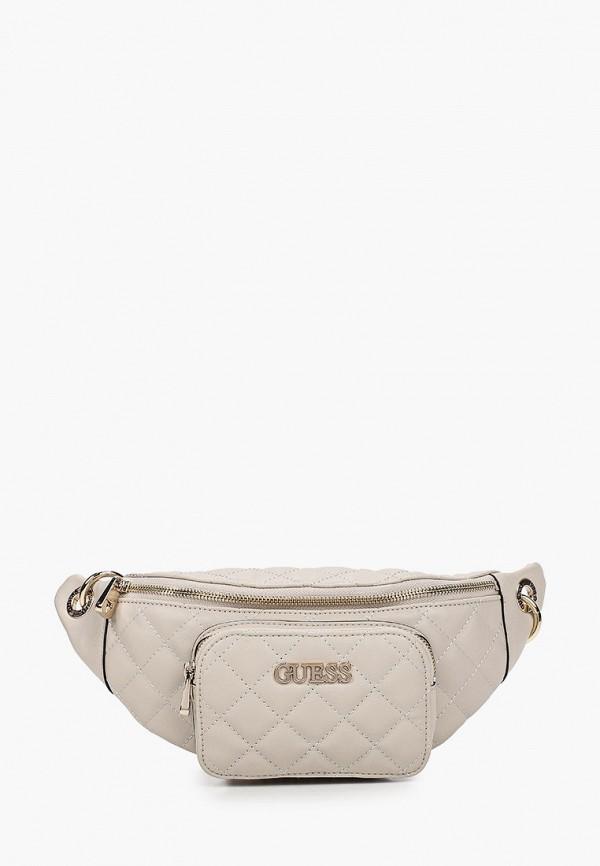 женская поясные сумка guess, бежевая