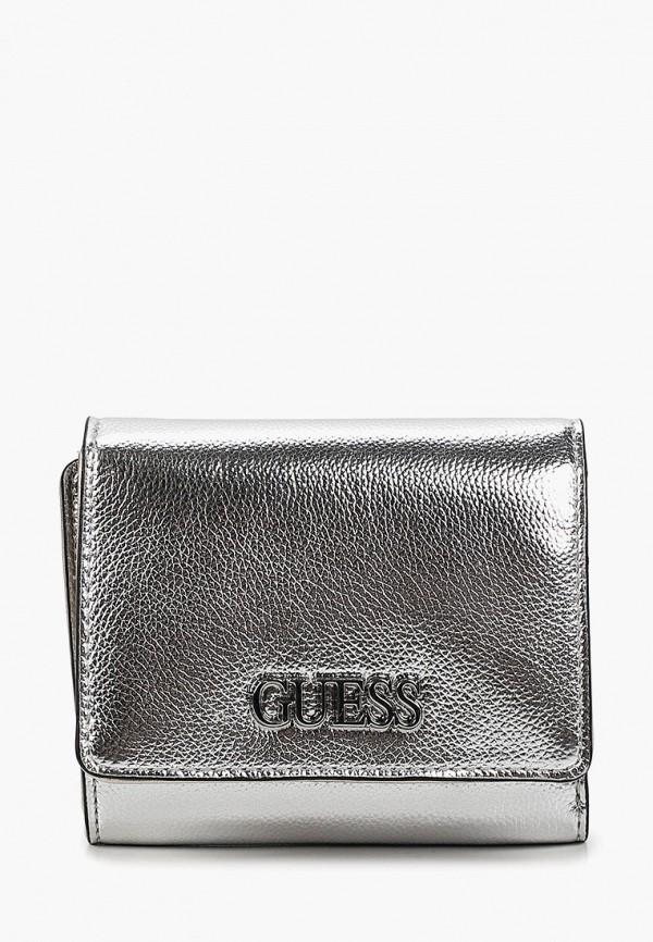 женский кошелёк guess, серебряный