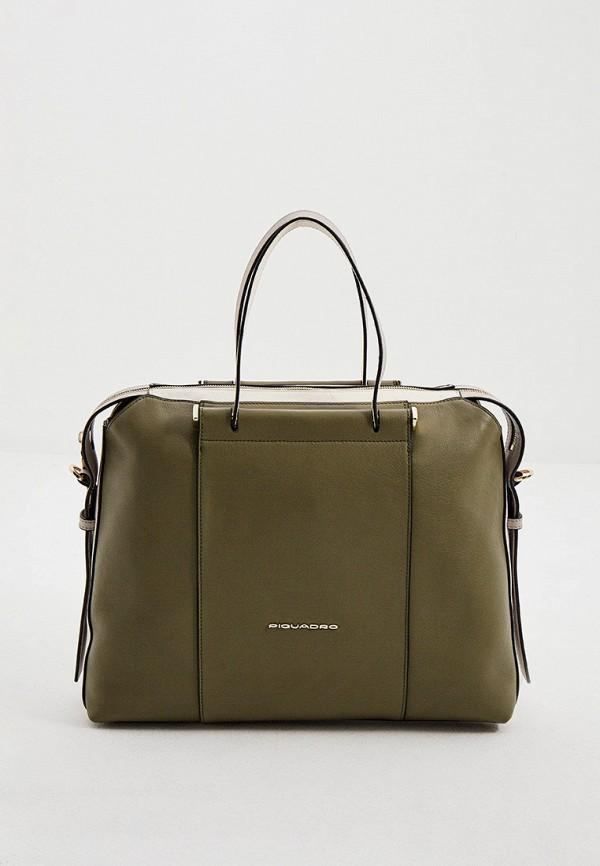 женская сумка с ручками piquadro, хаки