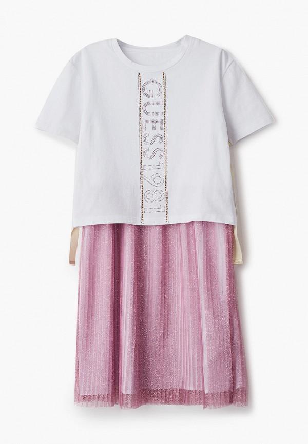 платье guess для девочки, розовое