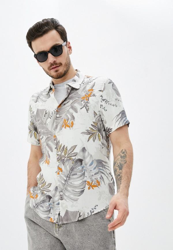 мужская рубашка с коротким рукавом guess, бежевая