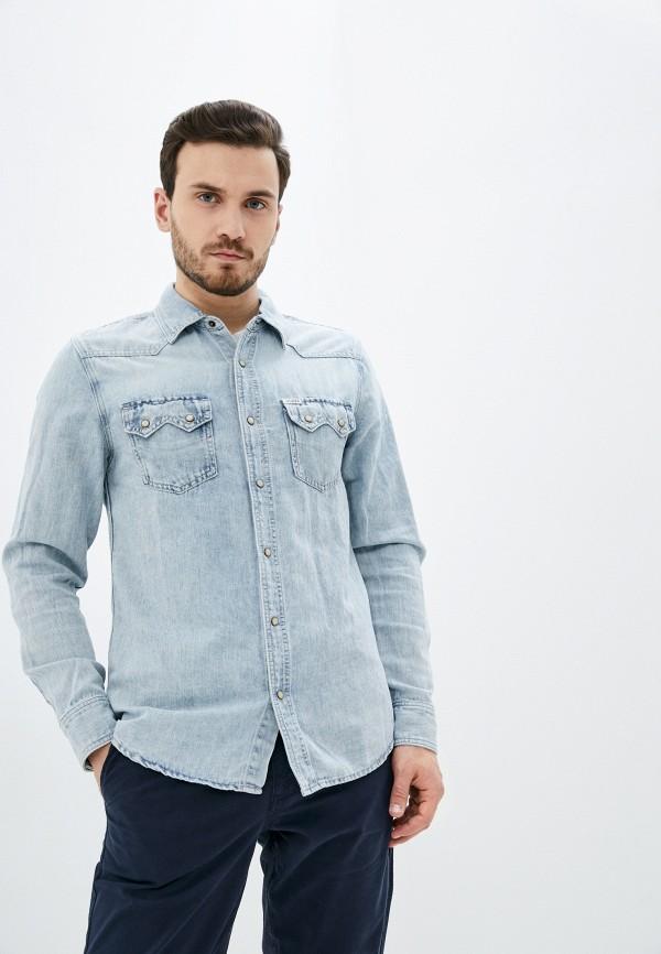 мужская джинсовые рубашка guess, голубая