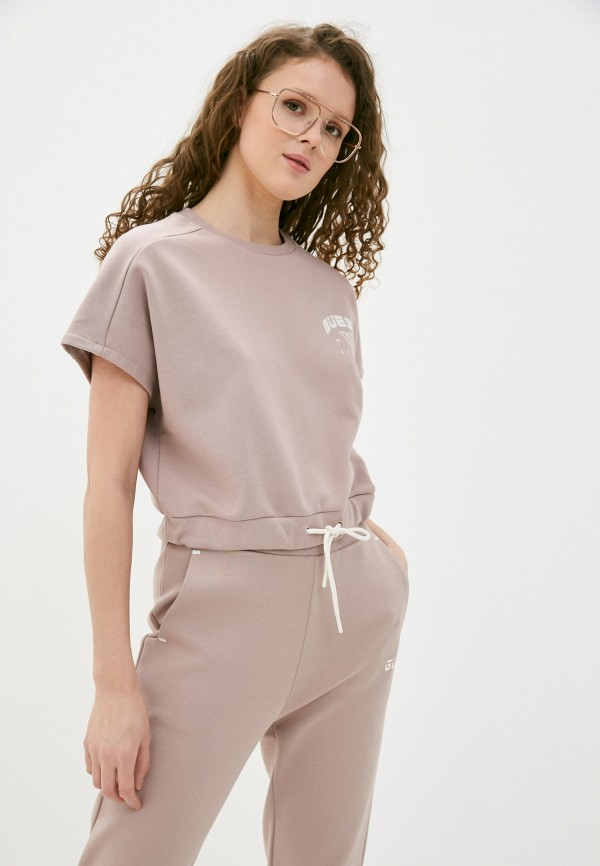 женская футболка guess, бежевая