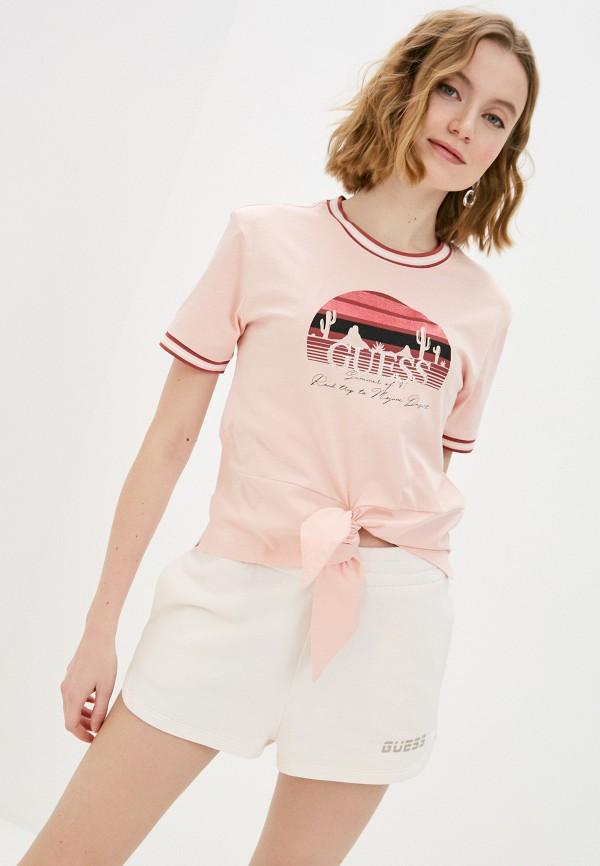 женская футболка guess, розовая
