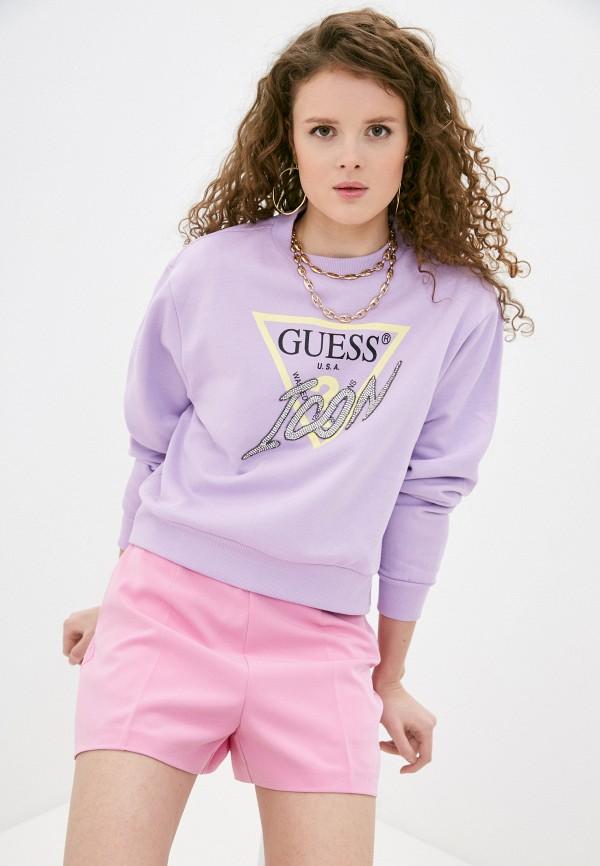 женский свитшот guess, фиолетовый