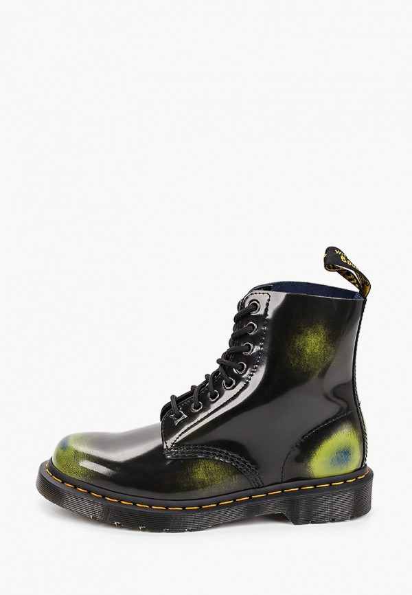 женские высокие ботинки dr. martens, зеленые