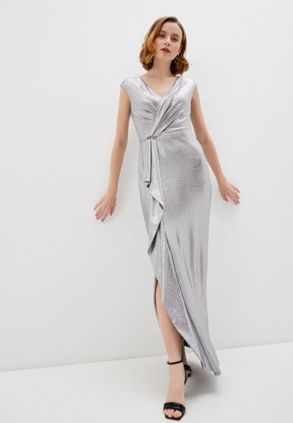 женское вечерние платье lauren ralph lauren, серебряное