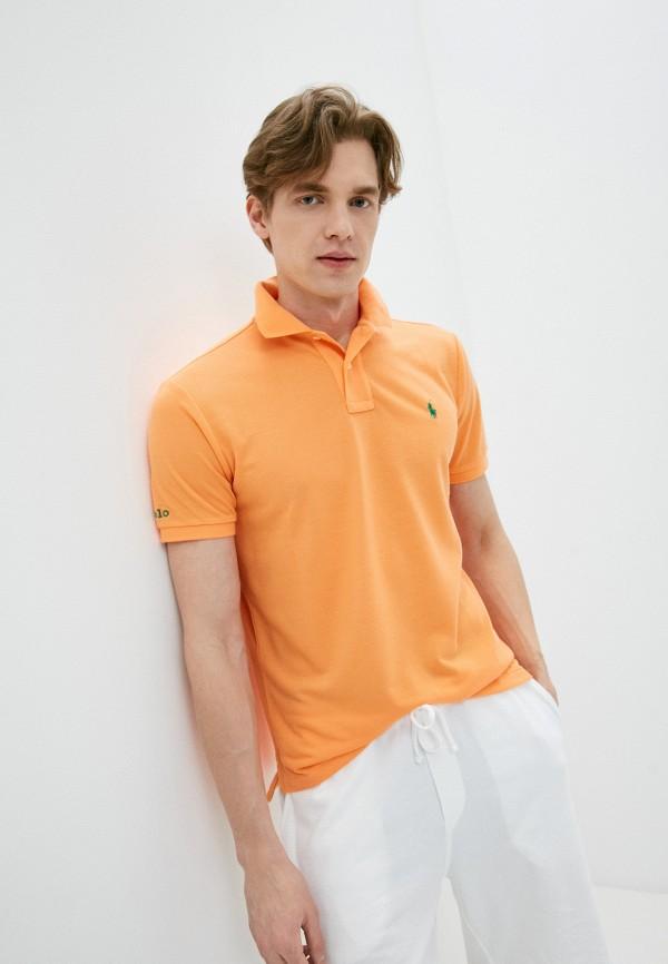 мужское поло polo ralph lauren, оранжевое