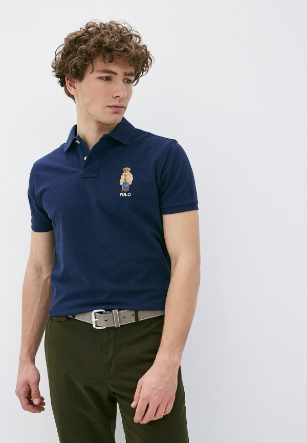 мужское поло polo ralph lauren, синее