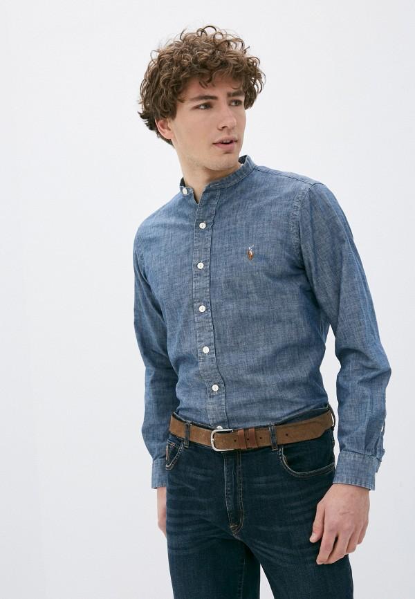 мужская рубашка polo ralph lauren, синяя