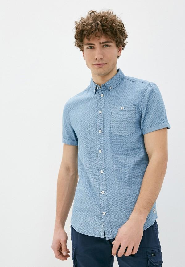 мужская рубашка с коротким рукавом blend, синяя
