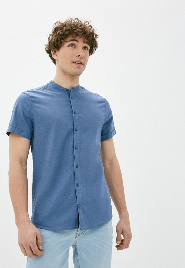 мужская рубашка с коротким рукавом blend, голубая