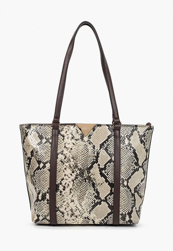 женская сумка с ручками fabretti, коричневая