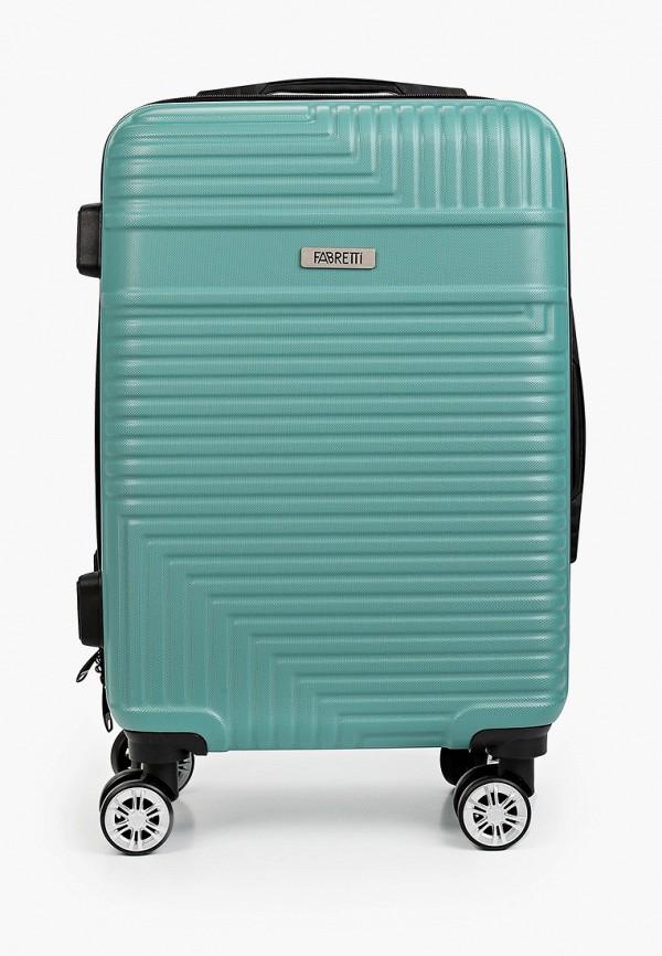 женский чемодан fabretti, бирюзовый