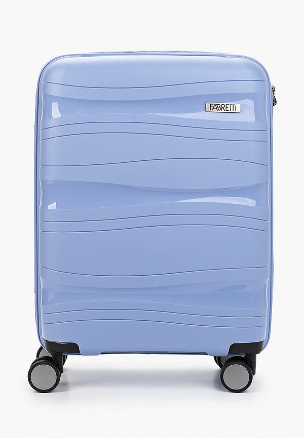 женский чемодан fabretti, голубой