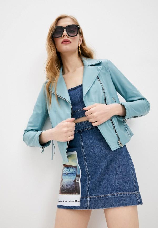 женская куртка blouson, бирюзовая