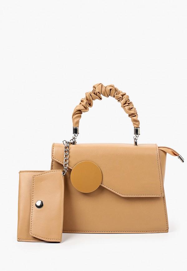 женская сумка с ручками allegri, бежевая