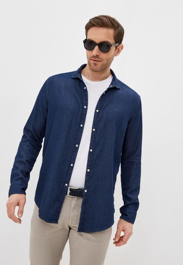 мужская рубашка с длинным рукавом brian dales, синяя