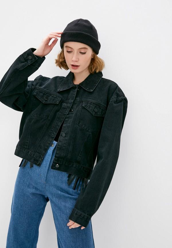 женская джинсовые куртка elsi, черная