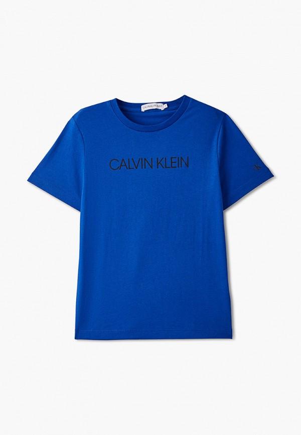 футболка с коротким рукавом calvin klein для мальчика, синяя