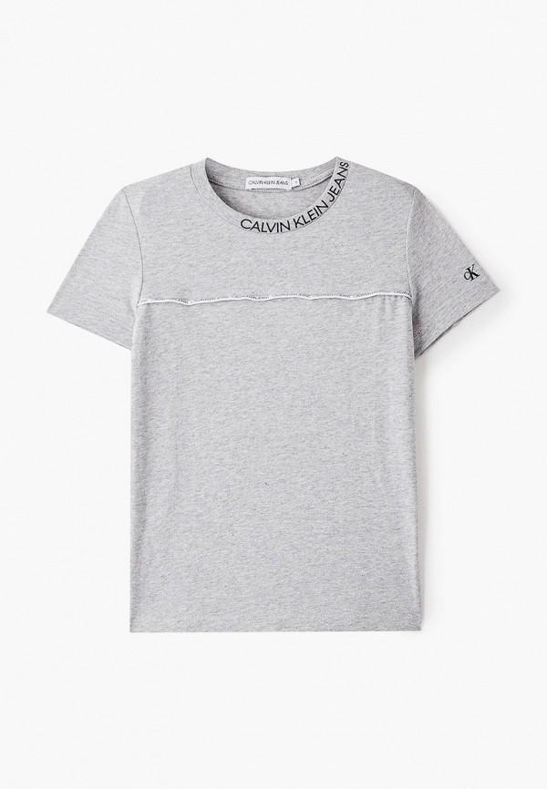 футболка с коротким рукавом calvin klein для мальчика, серая