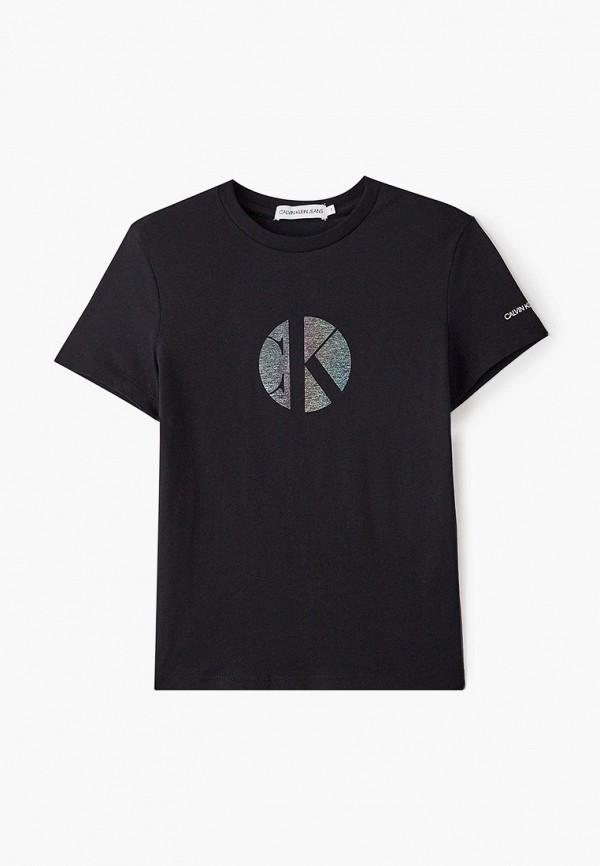 футболка с коротким рукавом calvin klein для девочки, черная