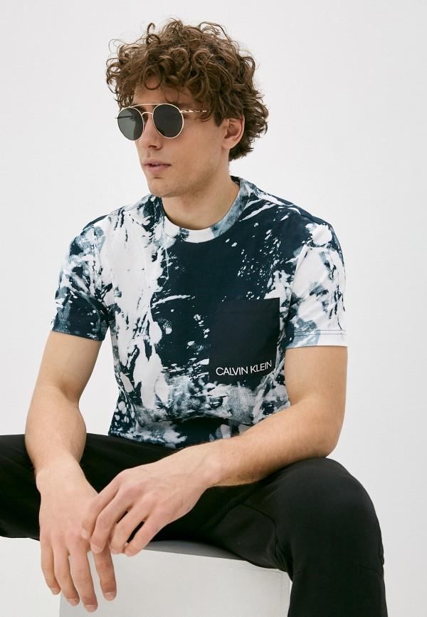 мужская футболка с коротким рукавом calvin klein, синяя