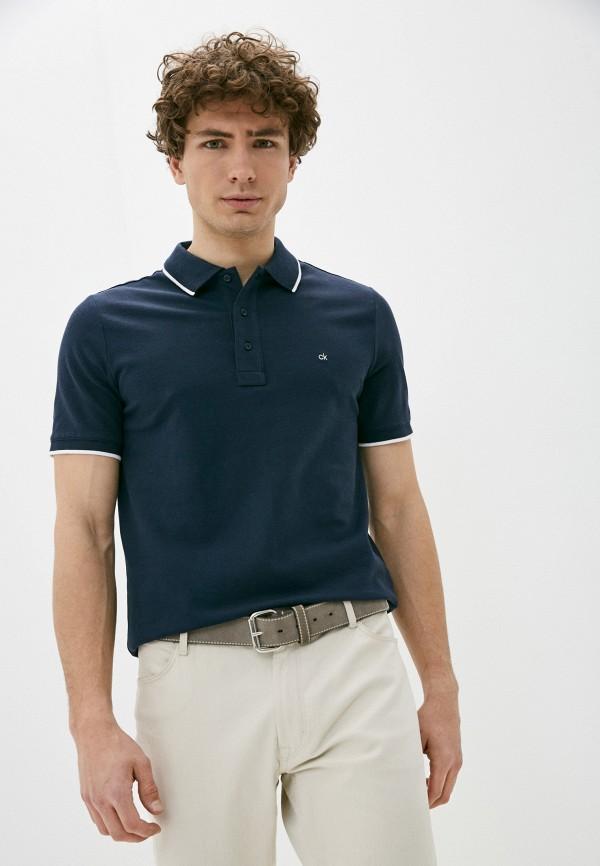 мужское поло с коротким рукавом calvin klein, синее