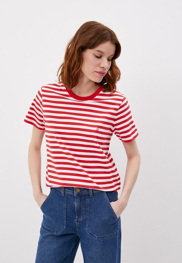 женская футболка calvin klein, красная