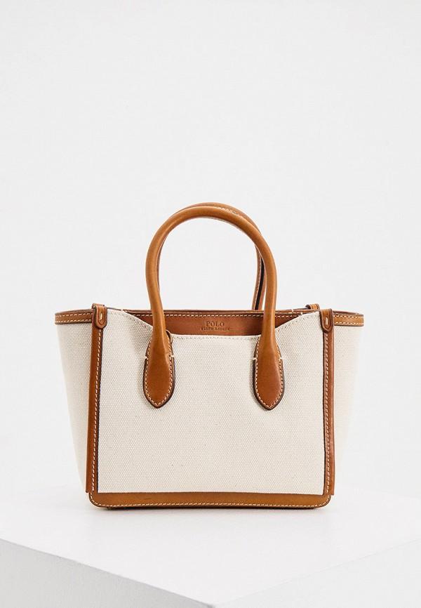 женская сумка polo ralph lauren, бежевая