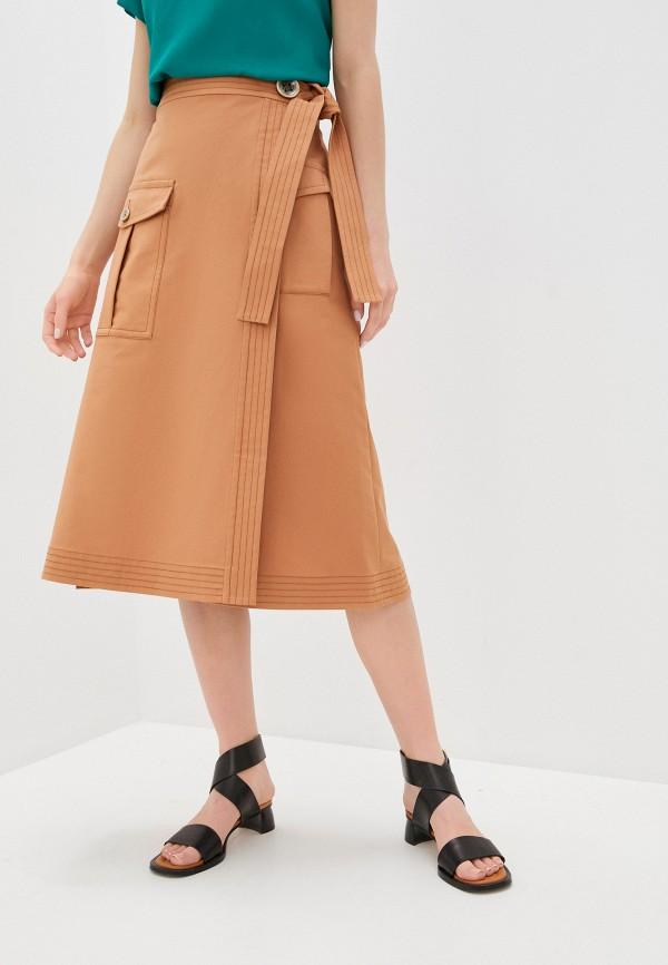 женская юбка eleventy, коричневая