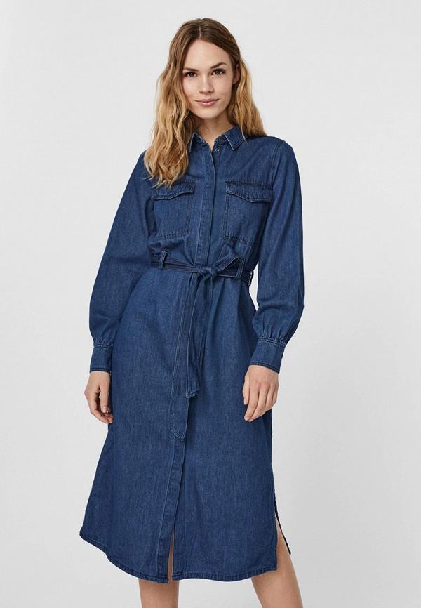 женское джинсовые платье vero moda, синее
