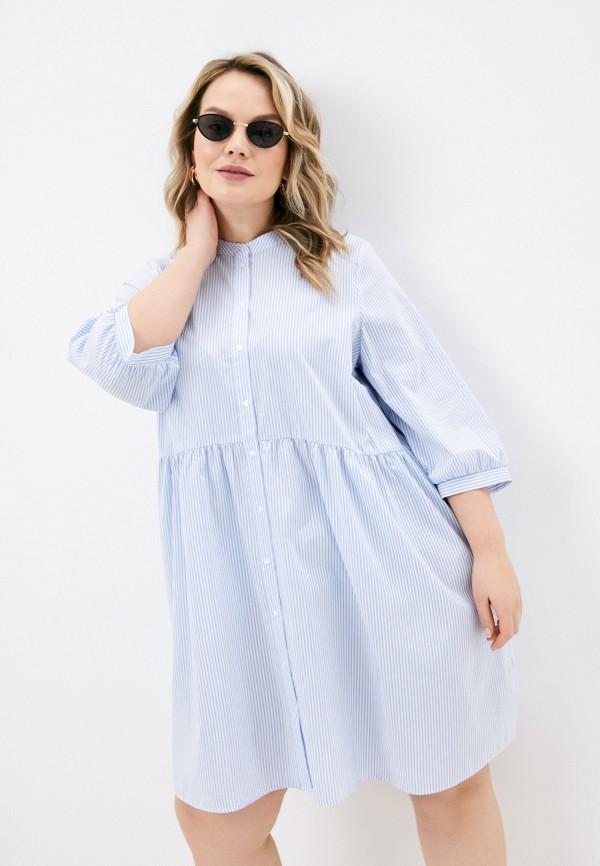 женское платье vero moda curve, голубое