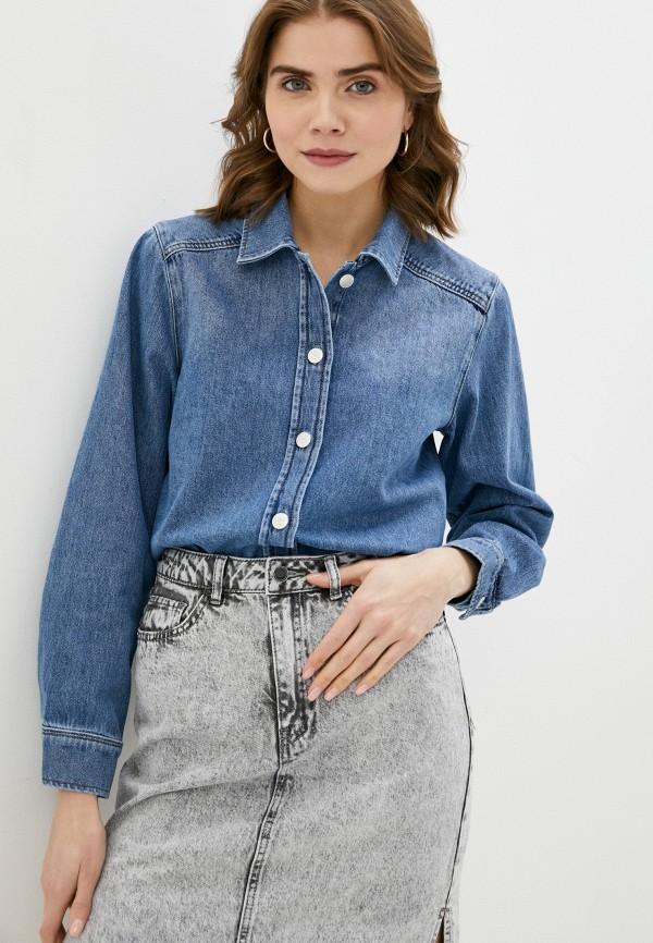 женская джинсовые рубашка selected femme, синяя