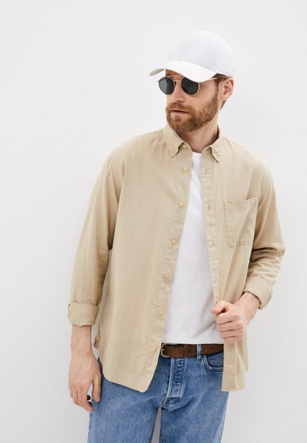 мужская рубашка с длинным рукавом selected homme, бежевая