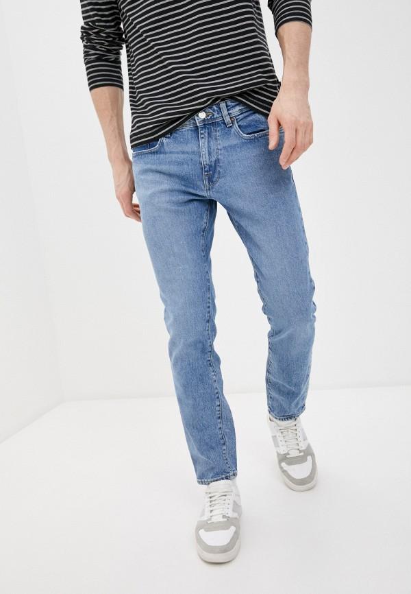 мужские зауженные джинсы selected homme, голубые