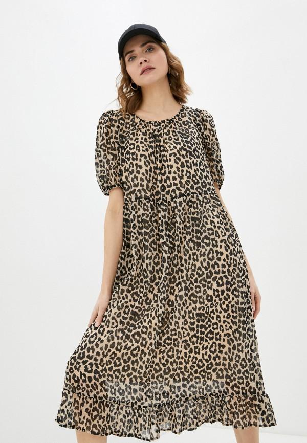 женское повседневные платье selected femme, бежевое