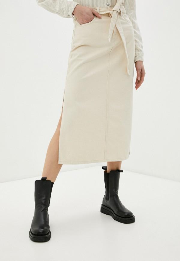 женская джинсовые юбка selected femme, бежевая
