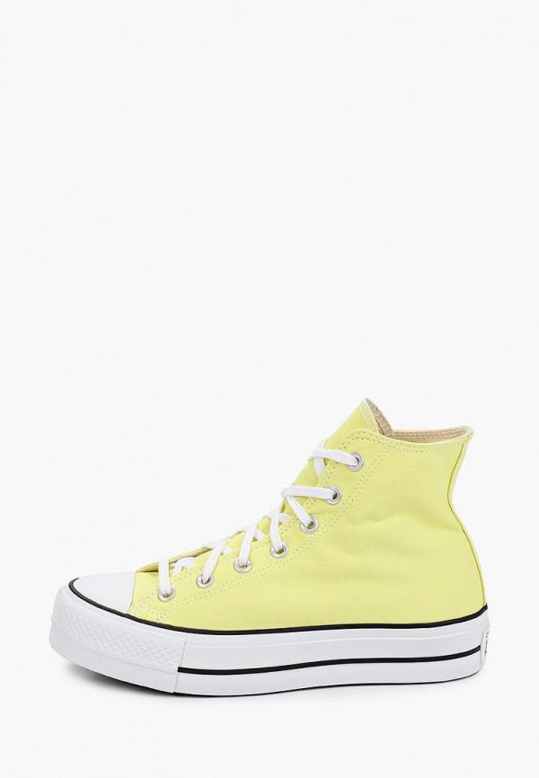 женские высокие кеды converse, желтые
