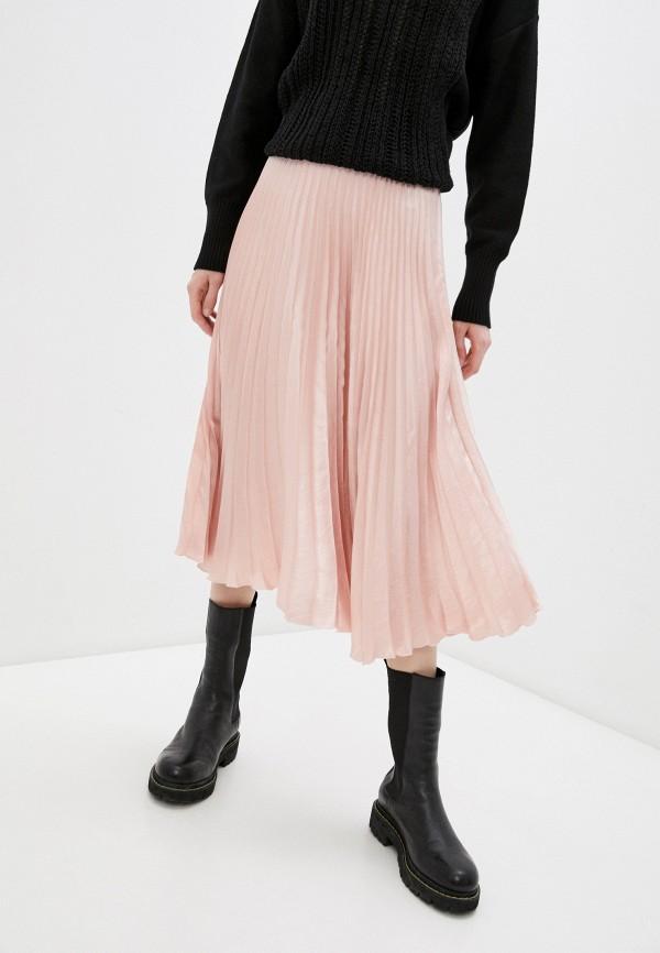 женская плиссированные юбка dkny, розовая