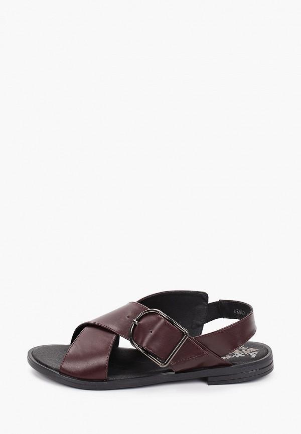 женские сандалии der spur, бордовые