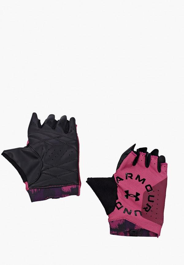 женские перчатки under armour, розовые